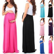 6171f2f217 Caliente mujeres embarazadas gasa vestido largo Maxi 2018 nueva moda  plisado sin mangas vestido de maternidad