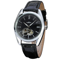 T WINNER Latest Men Automatic Mechanical Wrist Watch Leather Band Skeleton Dial Roman Number Concise Classic