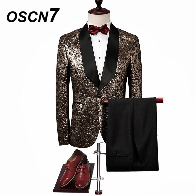OSCN7 Slim Fit белый платок воротник печати 2 шт. костюмы для мужчин 2019 жених свадебные костюмы для мужчин вечерние костюм из двух предметов для му
