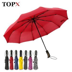 Image 1 - TOPX nowy duże silne moda Windproof parasol mężczyźni delikatne 3Fold kompaktowy w pełni automatyczny deszcz wysokiej jakości Pongee parasol kobiety