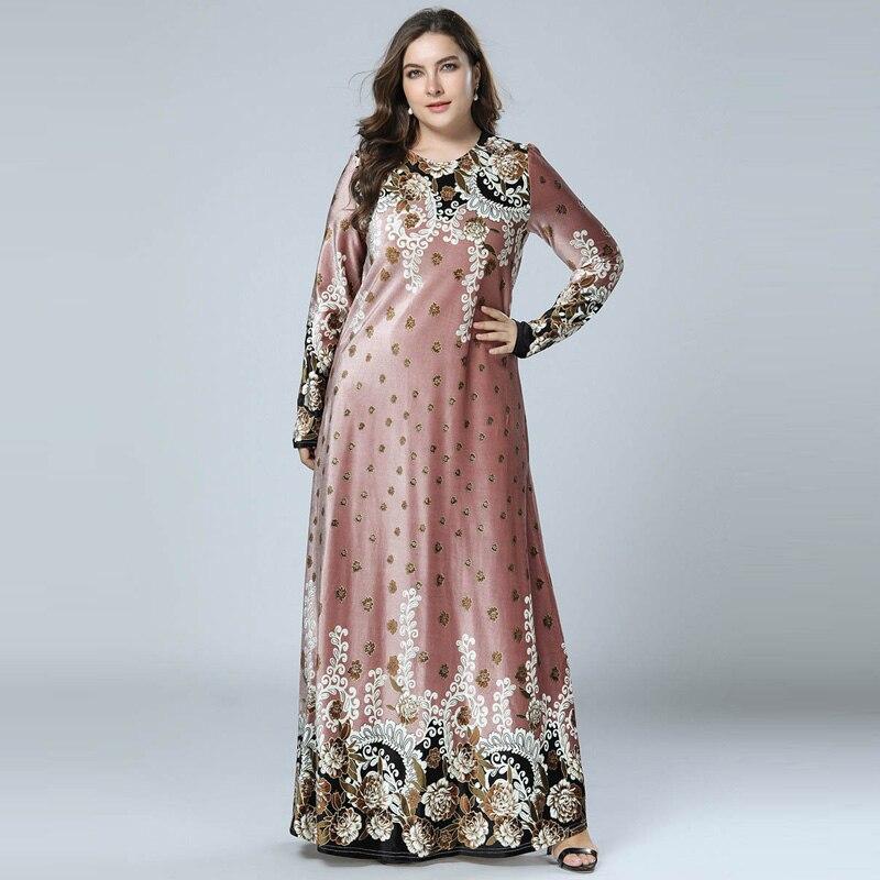 Women Winter Dresses Bronzing Print Velvet Abaya Muslim Maxi Dress Islamic  Arabic Abayas Long Sleeve Dress db58f404f5e8