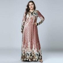Abiti Delle Donne di Inverno Abbronzante Stampa Velluto Abaya Maxi Vestito Musulmano Islamico Arabo Abaya Manica Lunga Vestito Pakistani Dubai M 4XL