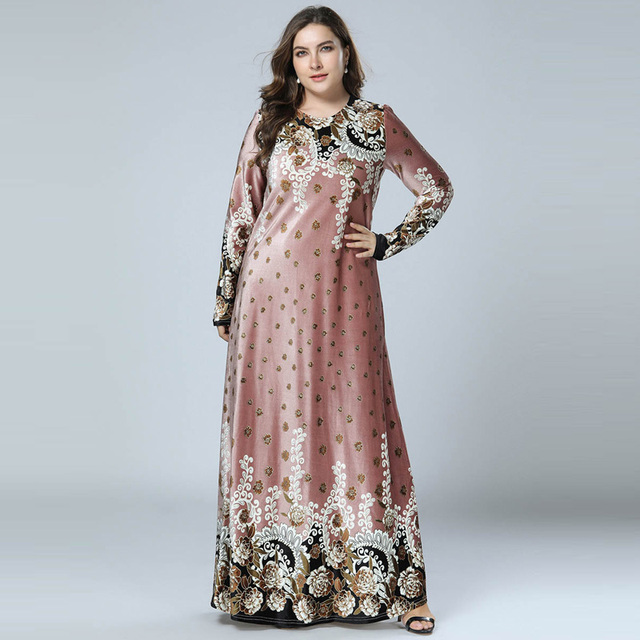 נשים חורף שמלות הדפסת Bronzing קטיפה העבאיה מוסלמי מקסי שמלת האסלאמי ערבית Abayas ארוך שרוול שמלת פקיסטני דובאי M 4XL