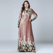 여성 겨울 드레스 bronzing 인쇄 벨벳 abaya 이슬람 maxi 드레스 이슬람 아랍어 abayas 긴 소매 드레스 파키스탄 두바이 M 4XL