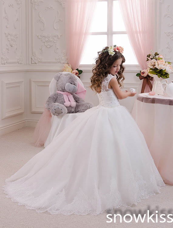 New White/Ivory Princess Lace Beading wedding formal occasion Ball Gowns Flower Girl Dresses first communion dress for juniors new white ivory flower girl dresses for wedding 3d flowers puffy tulle with big bow girls first communion gowns
