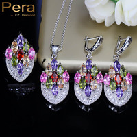 Pera Fashion 3 Pcs Multi Color Big Flower Cubic Zirconia Elegant Women Prom Party Sterling Silver