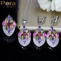 Pera Fashion 3 Pcs Multi Color Big Flower Cubic Zirconia Elegant Women Prom Party Sterling Silver