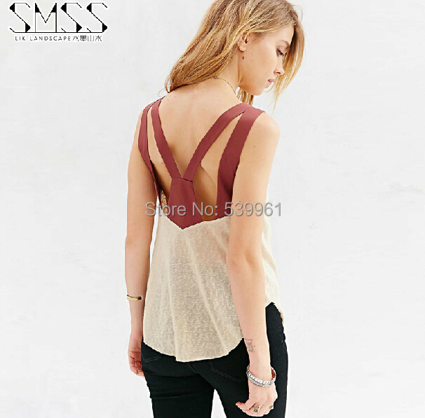 New 2015 Sexy Halter Deep V Back Vest Slim Stretch Camisole Women Fashion Fitness Women Tank