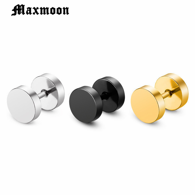 5047e3810 Maxmoon Wholesale Fashion Black Silver Stainless Steel Earrings Women Men's  Barbell Dumbbell Punk Gothic Stud Earring For men-in Stud Earrings from  Jewelry ...