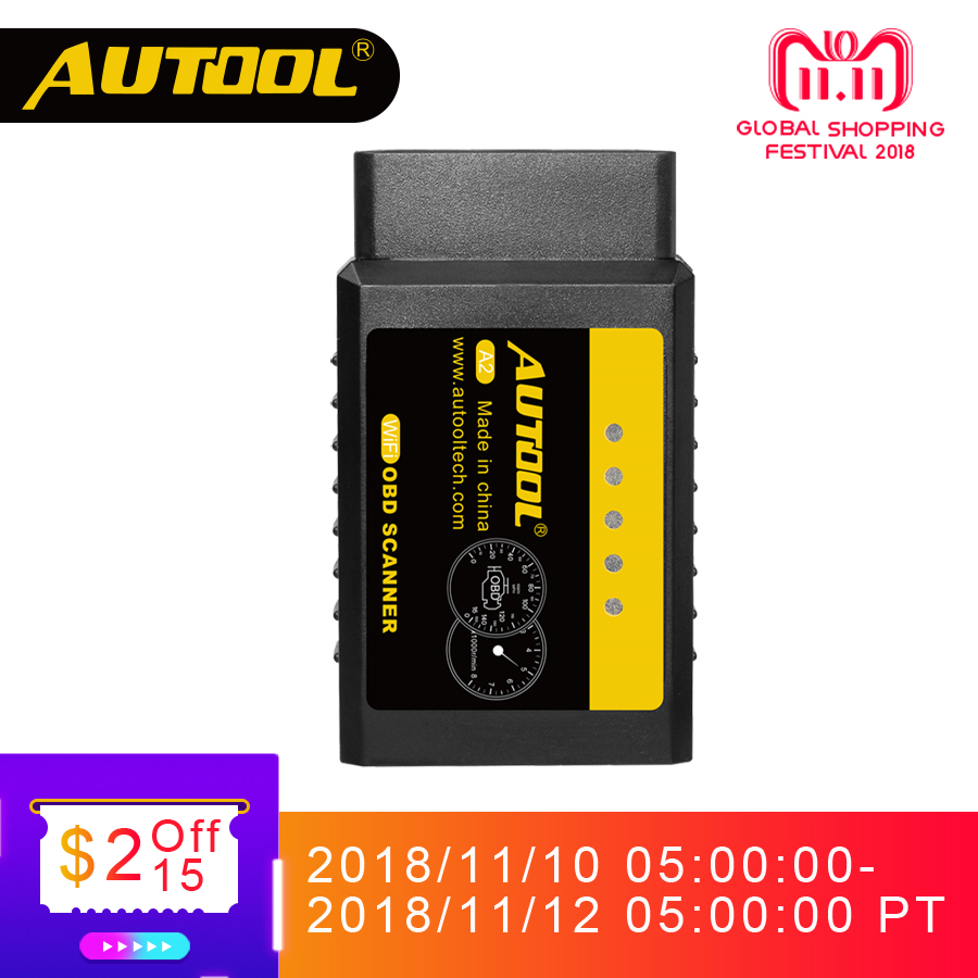 цена на AUTOOL A2 ELM 327 V1.5 Wifi OBD2 Scanner OBD 2 II ELM327 Auto Adapter Car Diagnostic Interface For Android iOS Win Iphone 25k80