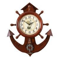 1PCS Real wood rudder pendant clock retro European living room clock wall watch personality silent quartz clock LU614930