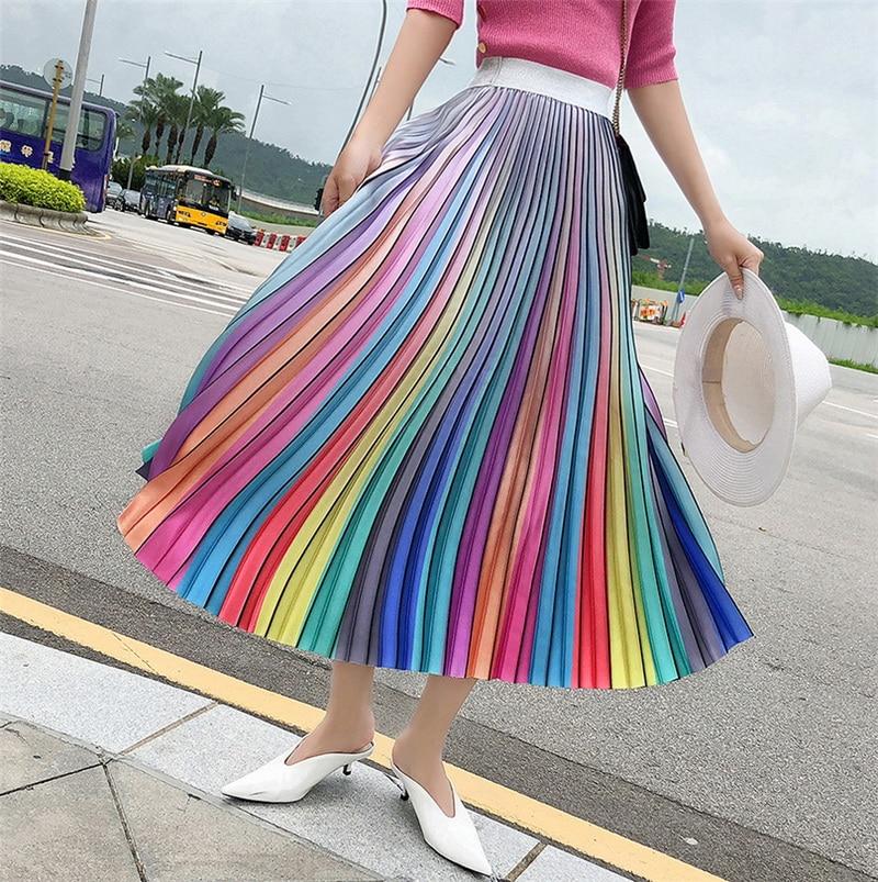 31d901fd84 Detail Feedback Questions about Women's Long Skirt Summer Skirts 2019  Spring Luxury Rainbow Striped Pleated Skirt High Waist Glitter Vestidos  Hologram on ...