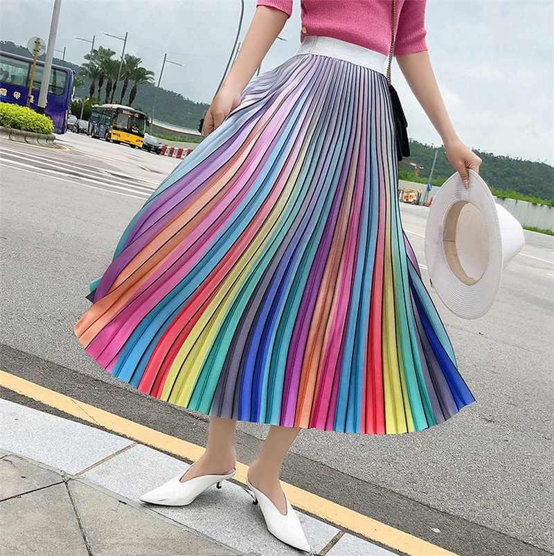 83746c29a732 Women's Long Skirt Summer Skirts 2019 Spring Luxury Rainbow Striped Pleated  Skirt High Waist Glitter Vestidos