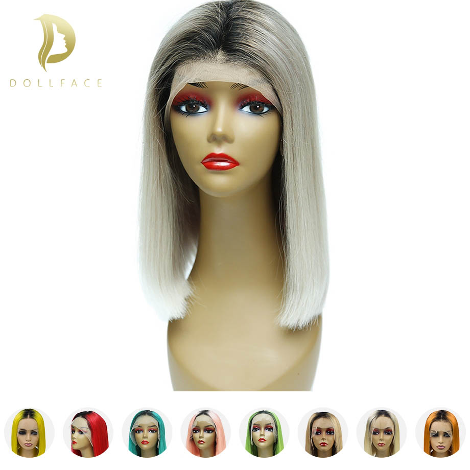 Human-Hair-Wigs Bob Wig Short Blonde Lace-Front Pre-Plucked Ombre Black Women Hairline