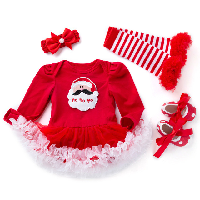 719a89d020284 4Pcs Set Newborn Girls Christmas Suits Clothes Baby Girl Set Ruffle Tutu  Dress Kid Infant New years eve Clothing Clothes Costume