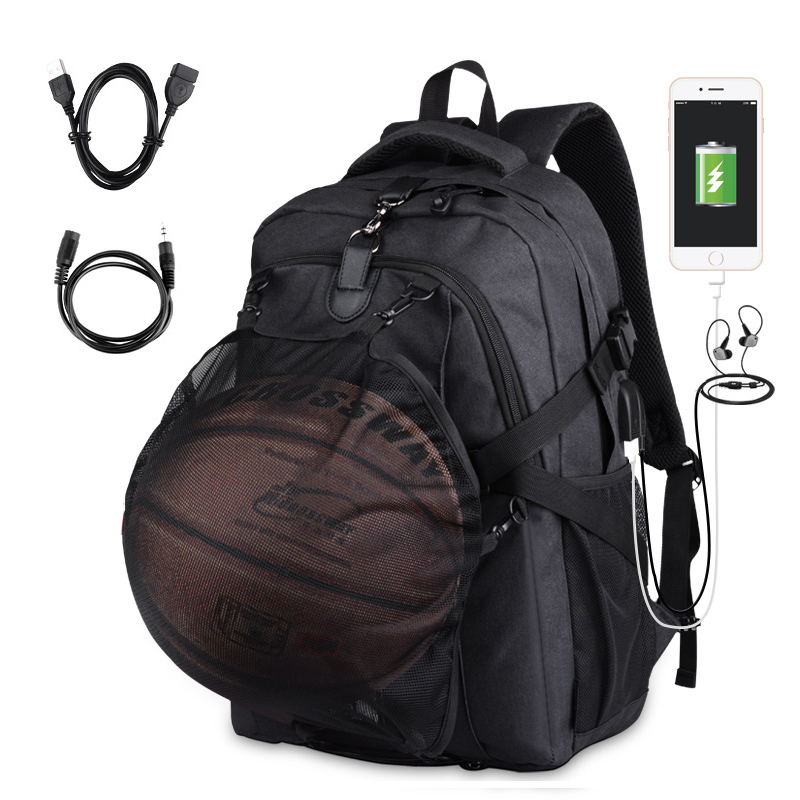 New Backpack Men Basketball 15.6 Inches Laptop Backpack USB Charging Black Bag Oxford School Backpack Men Outdoors