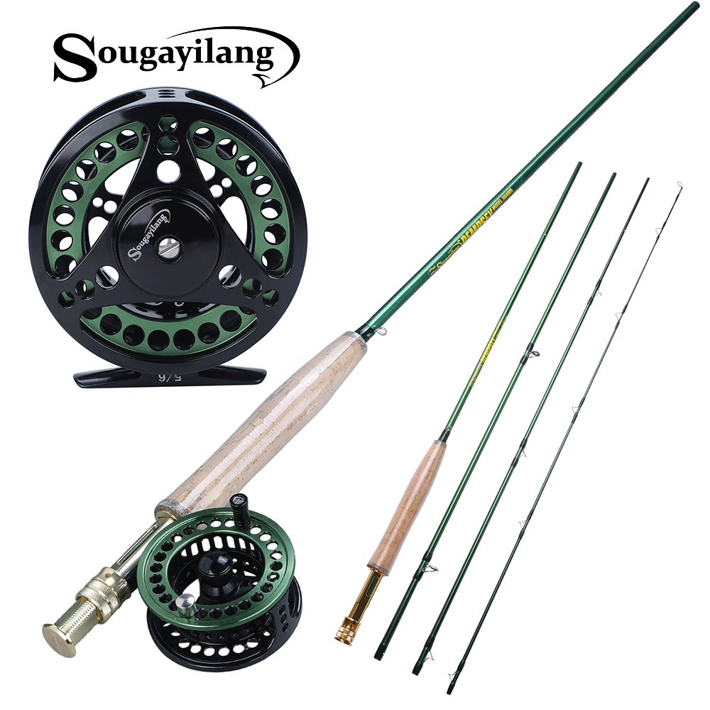 Sougayialng #5/6 Fly Fishing Rod Set And Carbon Fiber Ultralight Weight Fly Fishing Rod and Fly Reel Combo Tackles