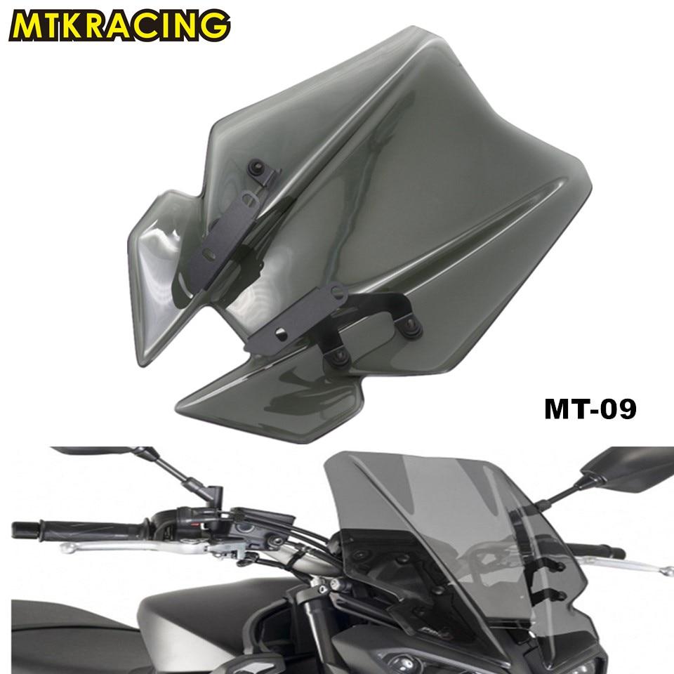 MTKRACING Motorcycle For YAMAHA MT09 MT-09 2017 FZ-09 FZ09 2017 Windshield WindScreen Double Bubble windshield for yamaha mt 09 fz 09 2017 2018 2019 windscreen pare brise motorcycle accessories wind deflectors mt09 fz09 mt fz 09