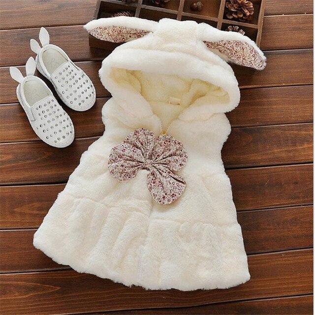 2016 новая мода девочка жилет ребенок искусственного меха супер мягкие удобные детская одежда для зимы младенца теплые бантом пальто