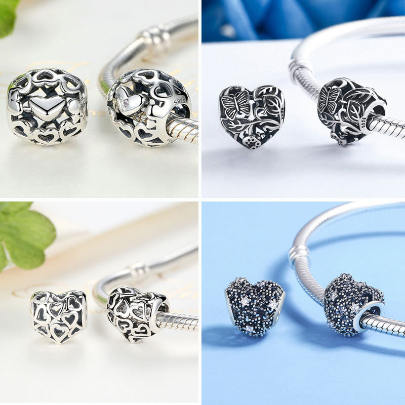 BISAER 925 Sterling Zilver Love All Around CZ Beads Fit Charms Zilver - Mode-sieraden - Foto 5