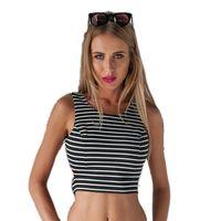 White Black Striped Tank Tops Women Sleeveless O Neck Slim Blusa Sexy Backless Summer T Shirt