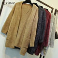 winter autumn long knitted sweater women cardigan 30inches
