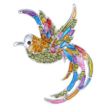 Crystal Colorful Bird Brooch Pins