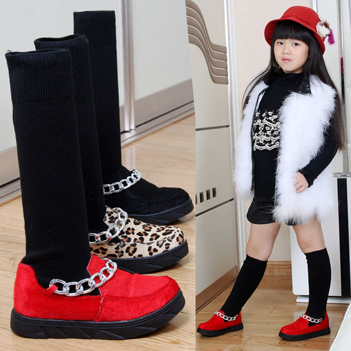 WENDYWU 2017 NEW ARRVIAL Fashion children boots PU Ma hair metal chain stretch wool cotton boots Artificial short plush