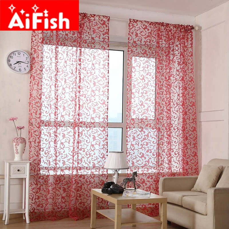 Geometric Jacquard Modern Curtains Simple Design Living: Red Pteris Tulle Rustic Jacquard Organza Voile Curtain