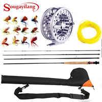 Sougayialng 8.86ft #5/6 vara de pesca com mosca conjunto 2.7 m voar vara e voar carretel combinação com isca de pesca linha caixa conjunto vara de pesca enfrentar