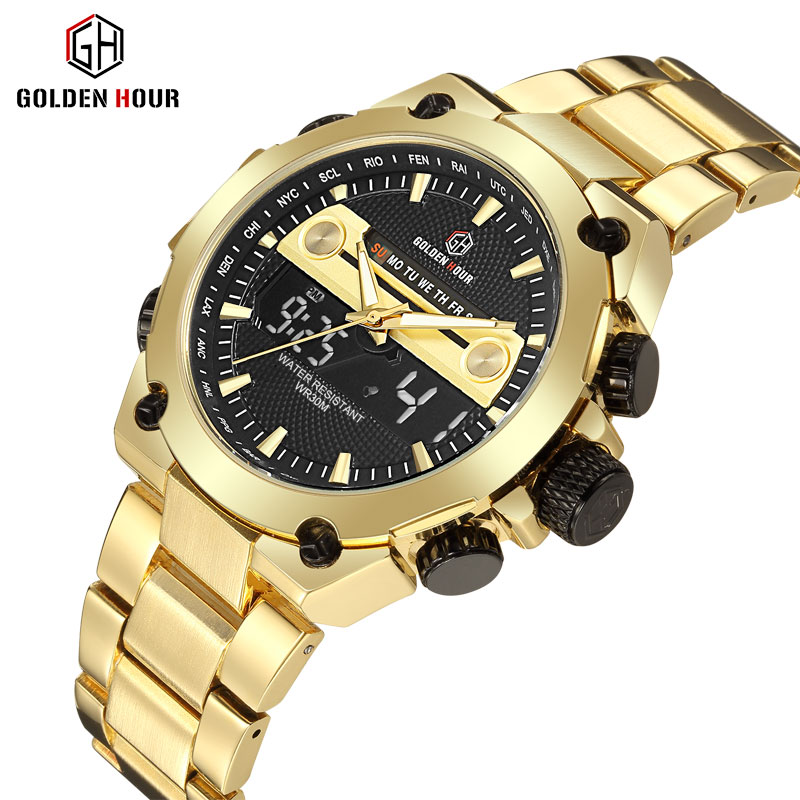 Digital Dual Time Golden Metal Strap Calendar Waterproof Military LED Electronic Wrist Watches