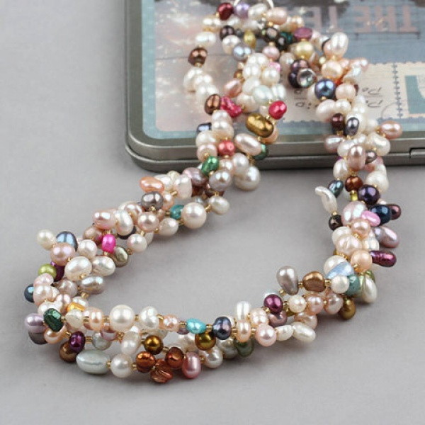 National Style Vinage Rock Beads Freshwater Pearl Necklace Birthday