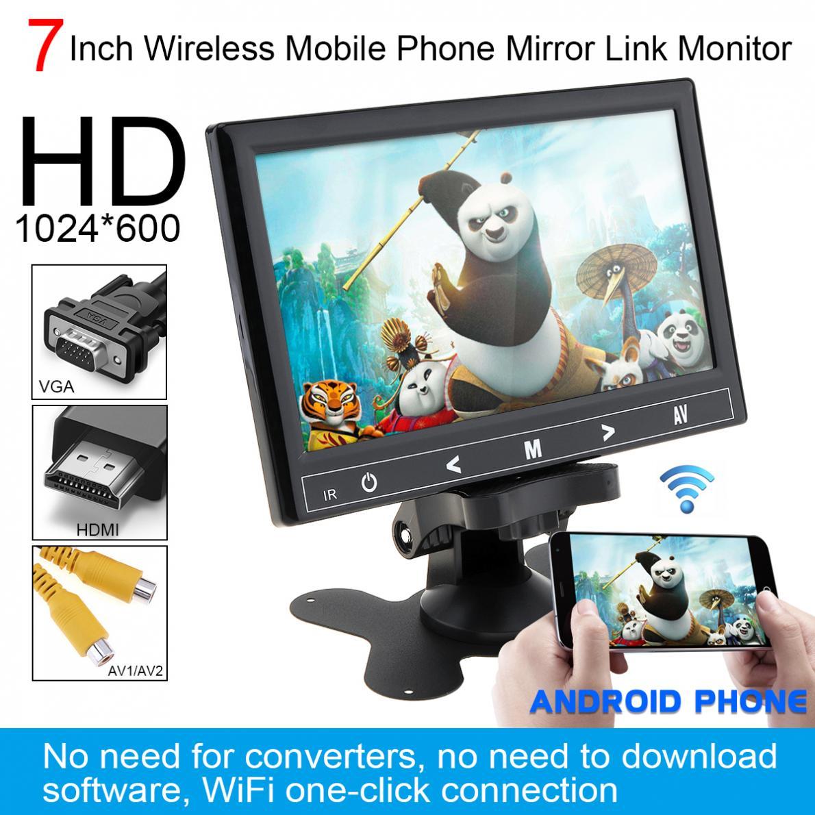 7 Inch HD IPS 12V TFT LCD Color Multifunction Car Headrest Monitor support HDMI VGA AV