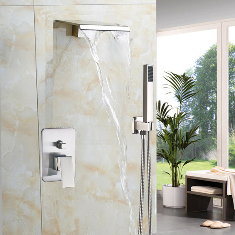 Brushed Nickel Waterfall Shower Faucet Set Wall Mounted Bathroom Mixer Tap Bathroom Shower Set with Handshower