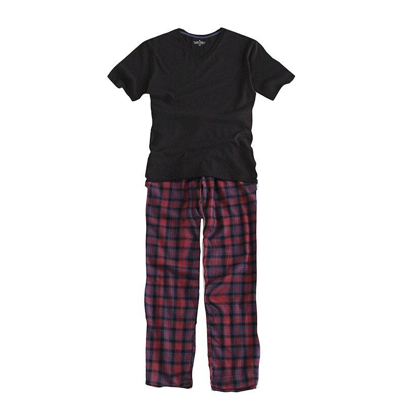 100% Baumwolle Männer Der Kurzen ärmeln Pyjama Set Oansatz Schwarz T-shirt Plaid Hosen Mens Pyjamas Herbst Nachtwäsche Plus Größe Für 95 Kg Fein Verarbeitet