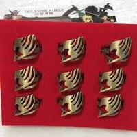 9 teile/satz Fairy tail ring action figure Modell Spielzeug Fee schwanz Peripherie Schlüsselanhänger Ring Riemen Schmuck In Box