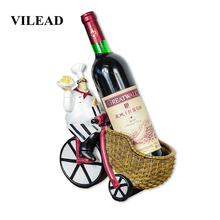 VILEAD 24.5cm Resin Cycling Wine Racking Chef Figurines Creative Crafts Western Restaurant Decoration Ornaments For Home Shops