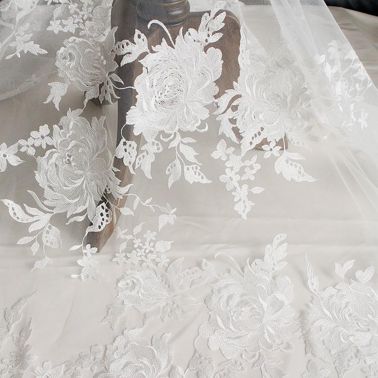 ᐅPestañas de encaje tejido vestido de boda bordado accesorios DIY ...
