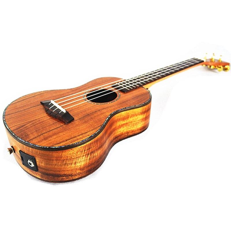 26 High Quality Ukulele All Solid Wood 4 strings Hawaiian Guitar Sweet Acacia wood KOA Electric Ukelele with Pickup EQ