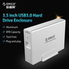 ORICO Алюминий USB 3.0 на SATA 3.0 3.5 дюймов HDD внешний корпус Супер Скорость SATA HDD док-станция для ноутбука PC-серебро