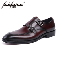New Vintage Genuine Leather Men S Double Monk Straps Wedding Party Footwear Round Toe Handmade Formal