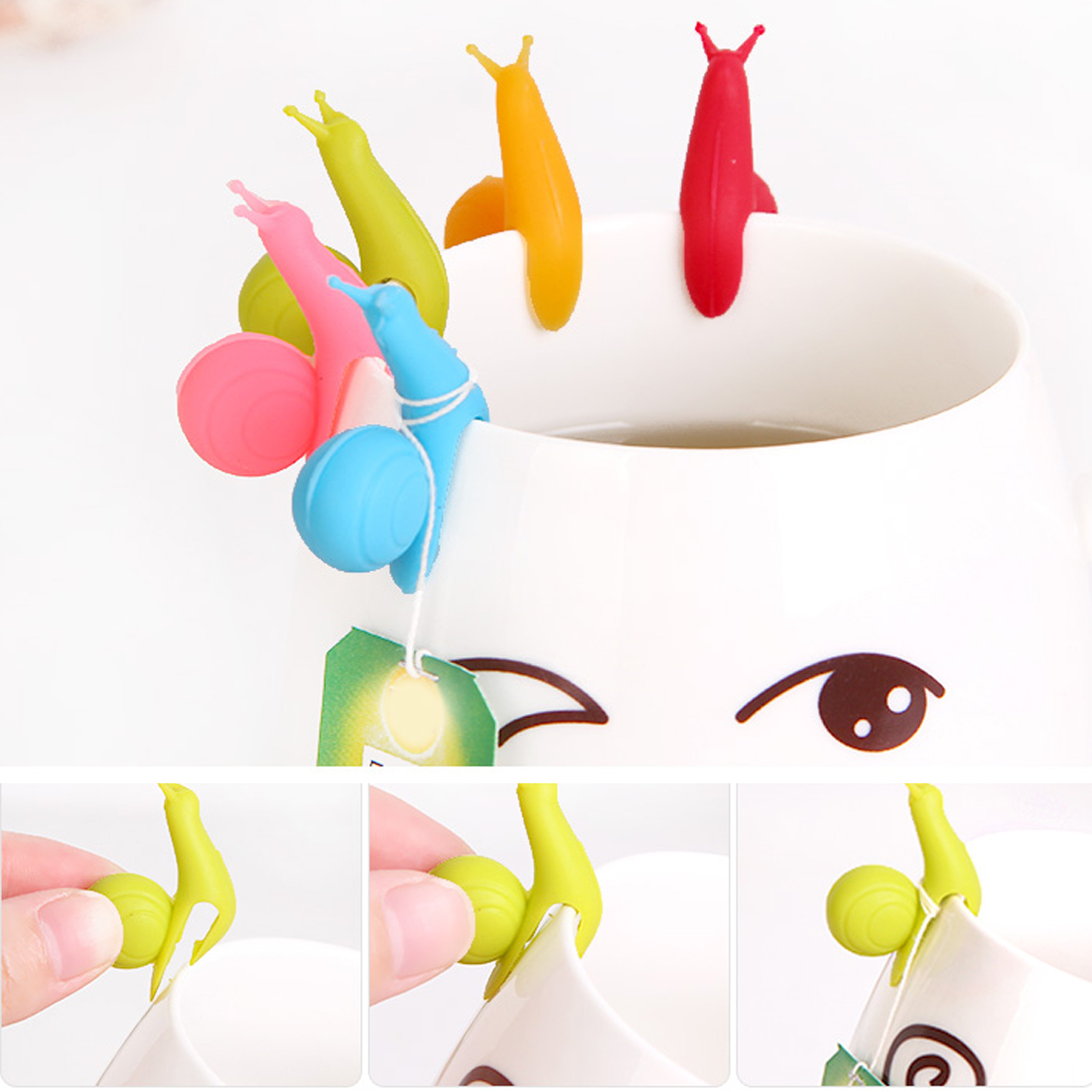 Silicone Tea Bag Holder 5 Pcs/Set Cute Snail Shape Tea Bag Clip Cup Mug Tea Infusers Strainer Clips Party Decor Random Color