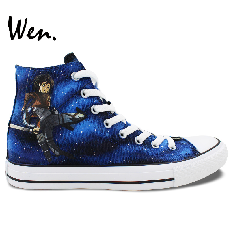 Wen Hand Painted Shoes Design Custom Attack on Titan Sword Art Online Men Women's High Top Canvas Sneakers for Gifts