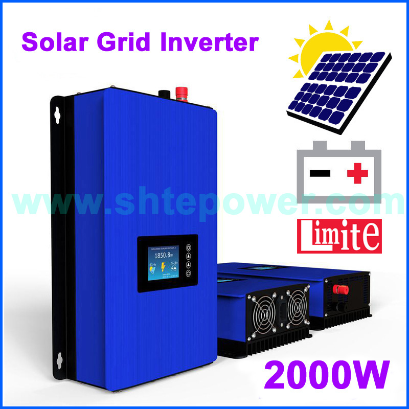 MPPT 2000w grid tie inverter with limiter free shipping DC45-90v input AC output with battery discharge function new grid tie mppt solar power inverter 1000w 1000gtil2 lcd converter dc input to ac output dc 22 45v or 45 90v