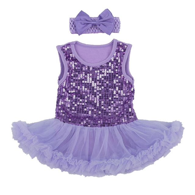 04bcbdc9b Bright Paillette Violet Lace Baby Girl Romper Set Tutu Dress ...