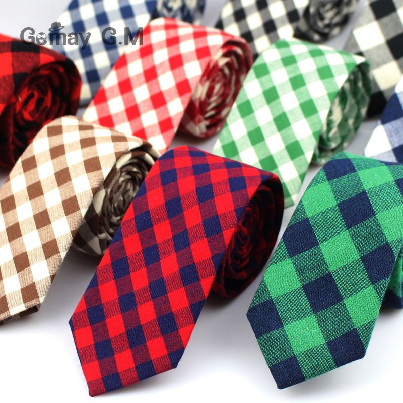 Brand Plaid Ties For Men Fashion Casual Neck Tie Gravatas Cotton Mens Necktie For Wedding Gravata Classic Corbata Red Neckwear
