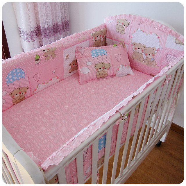 Promotion! 6PCS Pink Bear Baby Bedding Set Cotton Cot Set Cartoon For Baby Girl Boy  (bumpers+sheet+pillow cover)