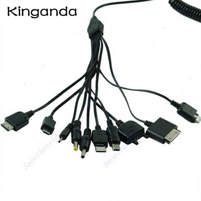 متعددة الوظائف 10 في 1 العالمي مايكرو البسيطة USB شحن الكابلات متعددة جاك كابل الشاحن الربيع خط حزم متعددة الأغراض