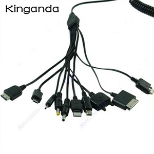 Image 1 - Cable cargador multifunción 10 en 1, Cable de carga Universal Micro Mini USB, conector múltiple, línea de resorte, mechones, multiusos
