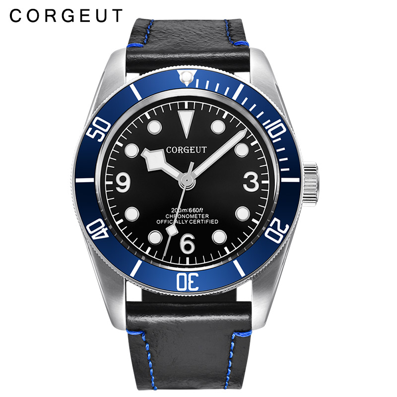 Corgeut 41mm Sapphire Glass Blue Bezel black dial leather strap miyota Automatic wrist watch Luminous men Watch polisehd 41mm corgeut black dial sapphire glass miyota automatic mens watch c102